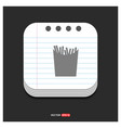french fries icon gray icon on notepad style vector image