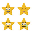 funny cartoon star character emotions set isolated vector image