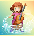 girl playing cello on the chair vector image vector image