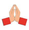 hands praying symbol vector image vector image
