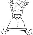 happy santa cartoon coloring page vector image vector image