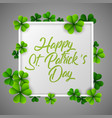 happy stpatricks day with white frame vector image