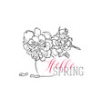 hello spring greeting card lettering vector image