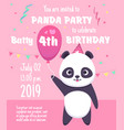 kids party invitation panda characters greeting vector image vector image