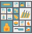 Kitchen and cooking icons set kitchenware and vector image