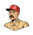 latino man with mustache and tattoos vector image vector image