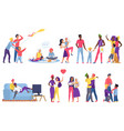 lgbt couple people flat set vector image vector image