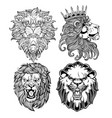 lion head angry black vector image