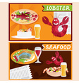 lobster and seafood restaurant cartoon vector image vector image