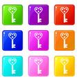 love key icons 9 set vector image vector image