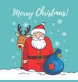 merry christmas cardsanta clausreindeerbaggift vector image