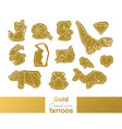 metallic temporary tattoos gold origami geometric vector image vector image