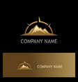 mountain volcano star adventure gold logo vector image vector image