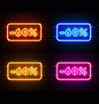 neon 60 off text banner color set night sign vector image vector image