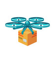 quadcopter icon remote air drone with parcel vector image