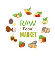 raw food market round design template witch nuts vector image vector image