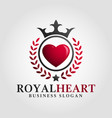 royal heart logo template vector image vector image