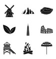 scenery icons set simple style vector image vector image