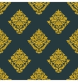 Seamless abstract yellow victorian flowers pattern vector image