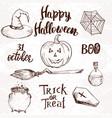 set sketch halloween elements vector image vector image