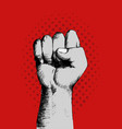 sketch of a right fist on red background vector image