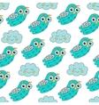 Sleep owl seamless pattern vector image