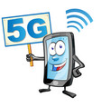 smartphone cartoon with signboard 5g icon clipart vector image