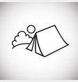 summer camping tent thin line on white background vector image