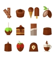 sweets and chocolate icons set in flat vector image vector image