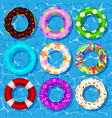 top view collection rubber rings vector image