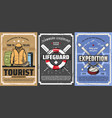 tourist backpack mountain skis lifebuoy travel vector image vector image