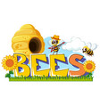 word design for bees vector image vector image