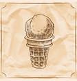 retro delicious ice cream cone hand drawn vector image