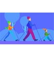 Ski with Family Concept in Flat Design vector image