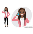 black african american girl is calling by vector image