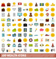 100 wealth icons set flat style vector image