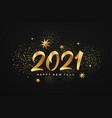 2021 happy new year gold ribbon gold stars vector image
