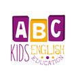 abc english education for kids logo symbol vector image