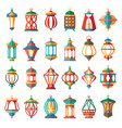 arabic lamps old light muslim islamic lanterns vector image