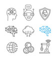 artificial intelligence linear icons set vector image vector image