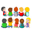 back view a group cute kids sitting vector image vector image