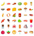 banana icons set cartoon style vector image vector image