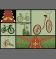 bicycles and roads set vector image vector image