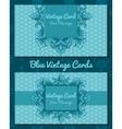 Blue vintage horizontal business card vector image vector image