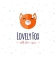 cartoon fox head logo Flat logotype vector image vector image