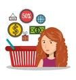 cartoon woman e-commerce basket buy isolated vector image vector image
