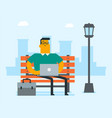 caucasian business man working on a laptop outdoor vector image vector image
