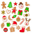 christmas and xmas design cookies set vector image