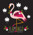 colorful exotic flamingo with flowers and leaves vector image vector image