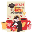 cute winter cartoon penguin with mug of hot drink vector image
